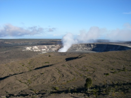 Halema'uma'u (the summit of the Kilauea Volcano) in the afternoon